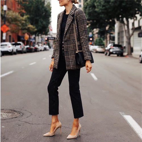 Plaid printed long sleeve blazer