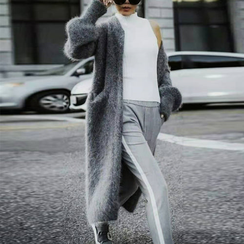 V-neck Long-sleeved Gray Long Trench Cardigan Coat