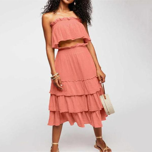 Sexy Plain Off Shoulder Sleeve Tube Falbala Top Long Skirt Suit