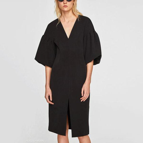Fashion V Collar Plain Slit Pagoda Sleeve Shift Dress