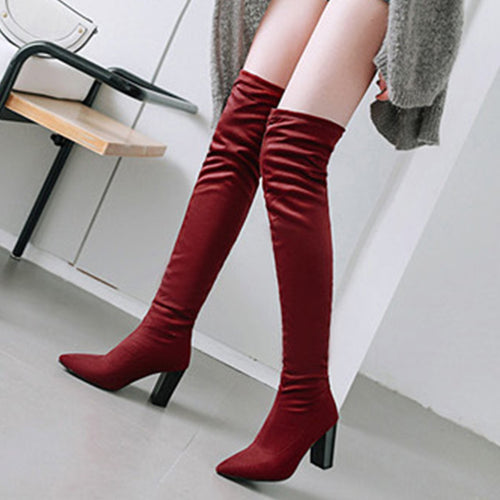 Sexy Low Heel Elastic Over Knee Boots