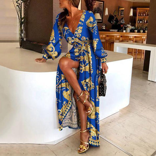 Stylish Vintage Print Deep V-Neck Sexy Maxi Dress