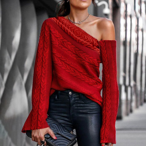 Casual Off-the-shoulder Solid Color Sweater