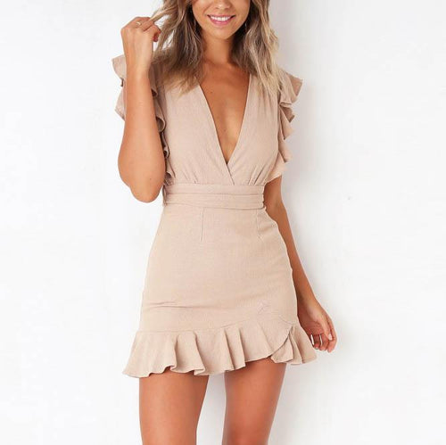 Sexy V-Neck Ruffled Slim Bodycon Strap Waist Slimming Dress