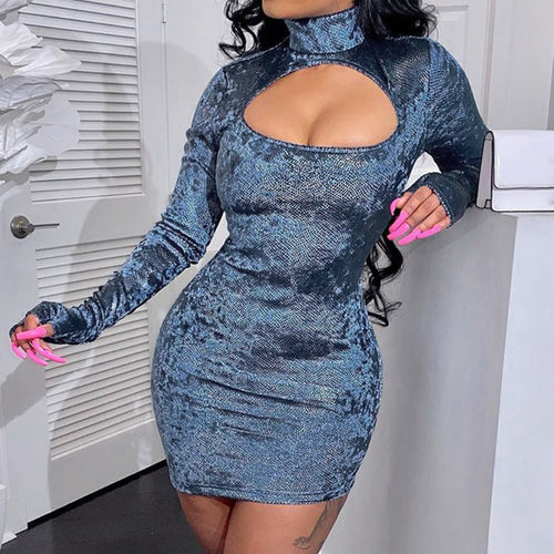 2020 foreign trade cross-border hot new sexy topless high-necked long-sleeved hip dress