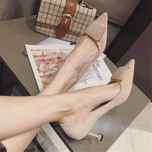 Simple Elegant Suede Pointed High Heels