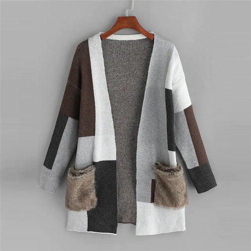 Geometric Colorblock Cardigan