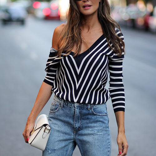 Casual Off-the-shoulder Low-back Striped Sweater