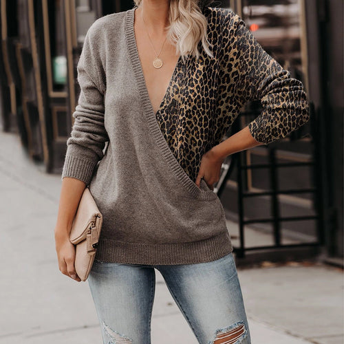 Fashion V-collar Splicing Leopard-Print Sweater