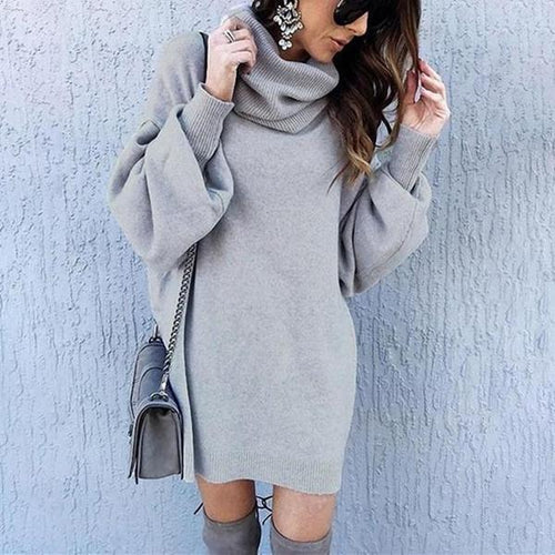 Casual Loose Long High Collar Knitting Mini Dress