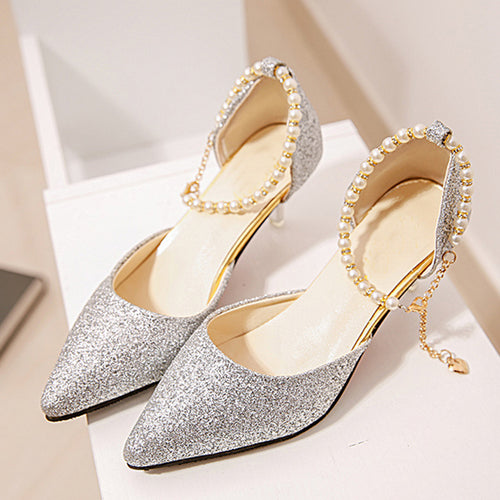 Stiletto Mid Heeled Ankle Strap Point Toe Date Event Pumps