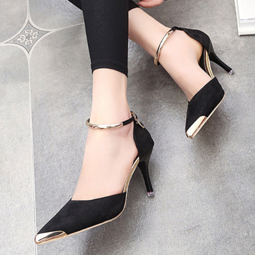 Stiletto Mid Heeled Velvet Ankle Strap Point Toe Date Event Pumps