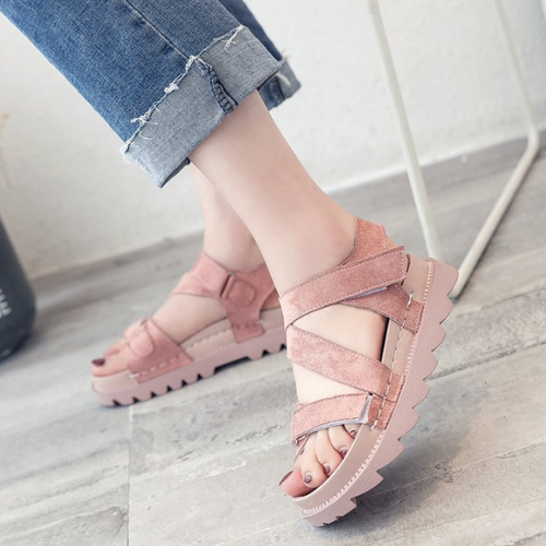 Large Size Cross Band Buckle Sandals