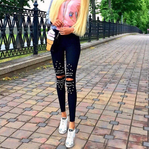 Studded Knee Hole Broken Pants Stretch Pencil Pants
