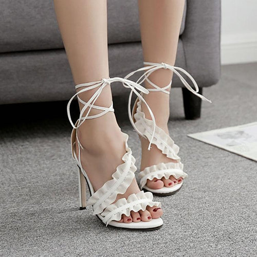 Fashion Lace Cross Straps Fish Mouth Slim High Heel Sandals