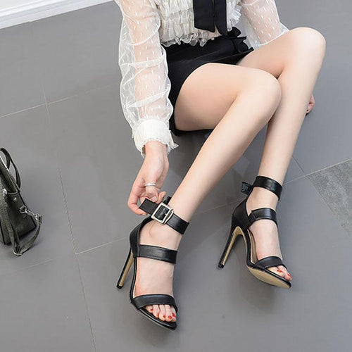 Fashion Pure Color Hollow Buckle Slim High Heel Sandals