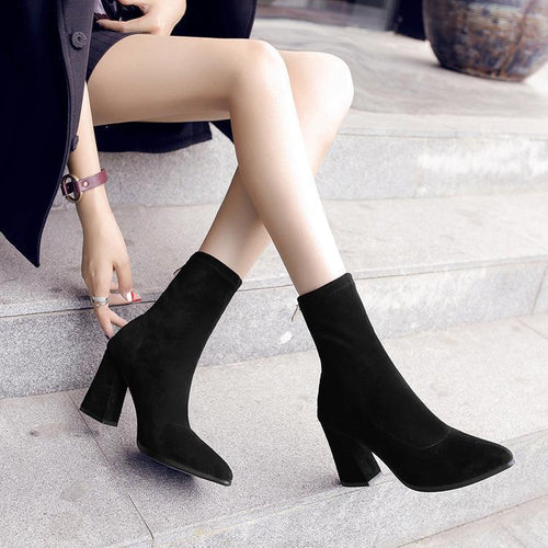 Fashion Solid Color Tube Pointed Female Boots