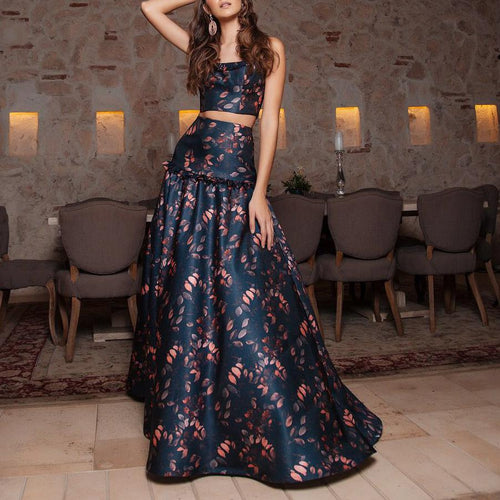 Sexy Floral Condole Belt Midriff Top Long Skirt Suit