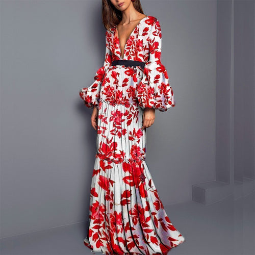 Sexy Printed Split Joint Fishtail Maxi Dress