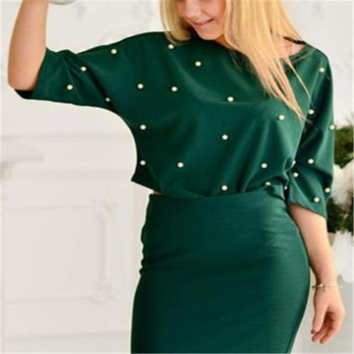 Fashion Loose Round Neck Pearl Top Bodycon Skirt Suit