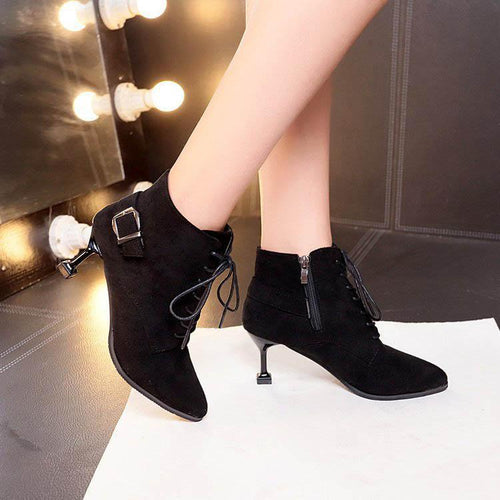 Pure Color Suede Slim Heel Boots