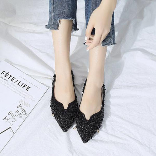 Flat Bottom Versatile Pointed Bow Shoes