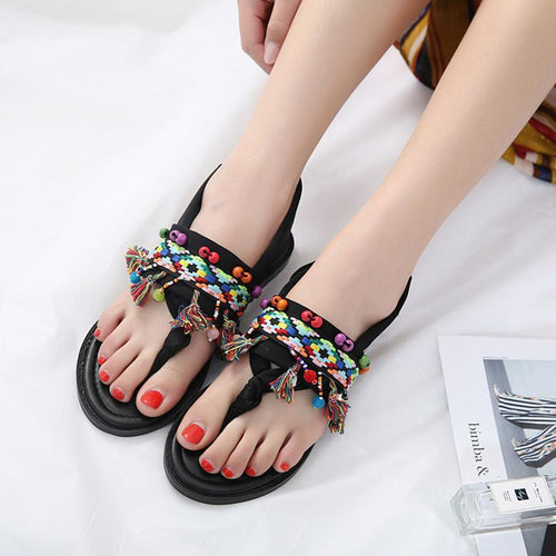 Flat Tassel Roman Wind Thong Sandals