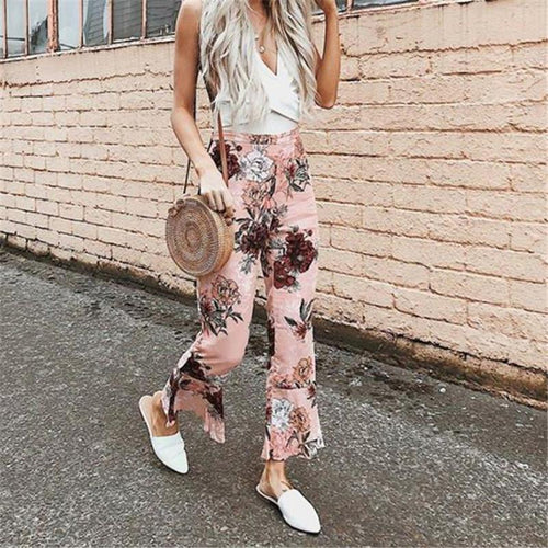Fashion Casual Nifty Slim Floral Ruffled Bottom High Waist Vacation Pants