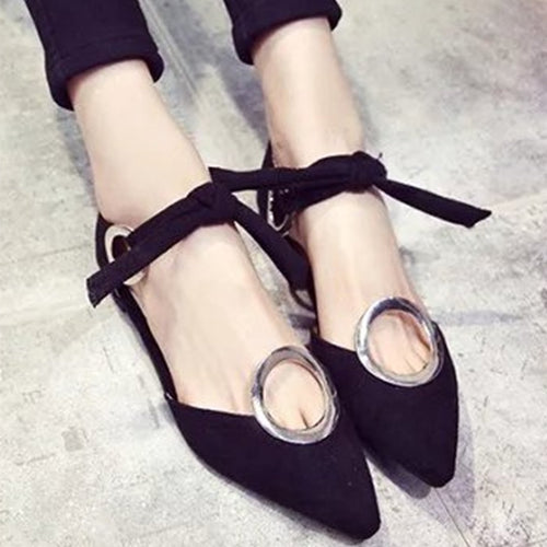 Fashion Pointed Metal Round Buckle Sandals