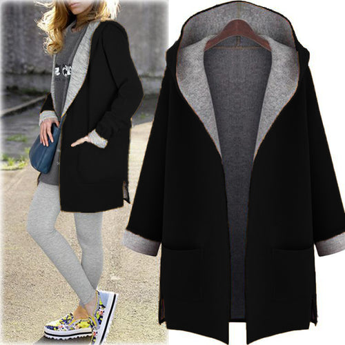 Hooded Cardigan Wool Coat Loose Overcoat