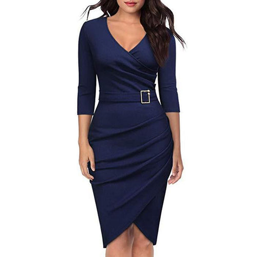 Party V-Neck Bodycon Evening Dress With Three Quarter Sleeves