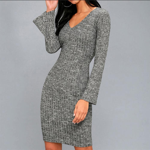 Sexy V Neck Pure Colour Long Sleeve Bodycon Dresses