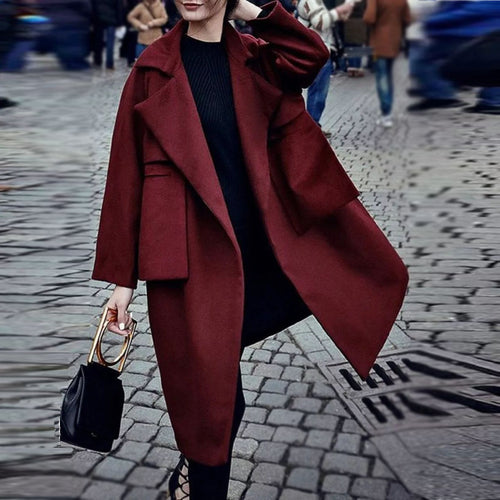 Fashion Pure Colour   Long Sleeve Pocket Coat