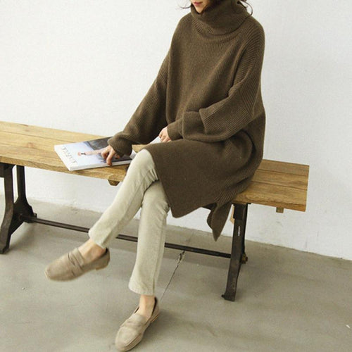 Casual High Collar Long Sleeves Thicken Warm Plain Knitting Dress