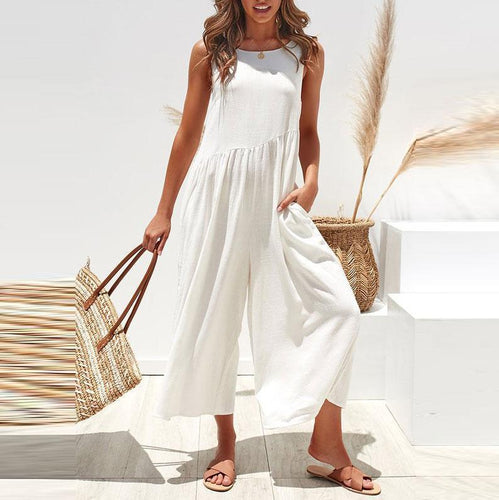 Casual Round Collar Plain Sleeveless Loose Jumpsuits