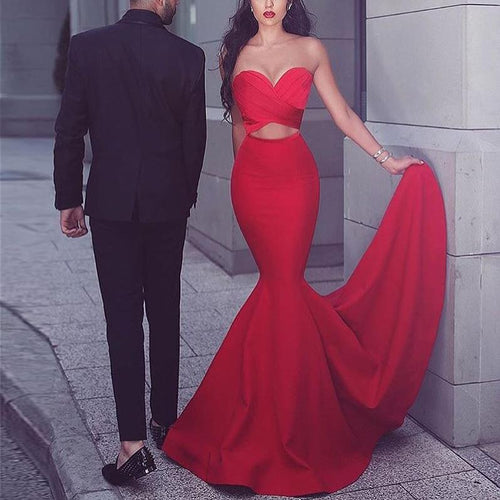 Sexy Tube Top Tight Red Evening Dress