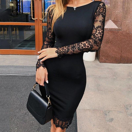 Sexy Lace Splicing Round Neck Bodycon Dresses