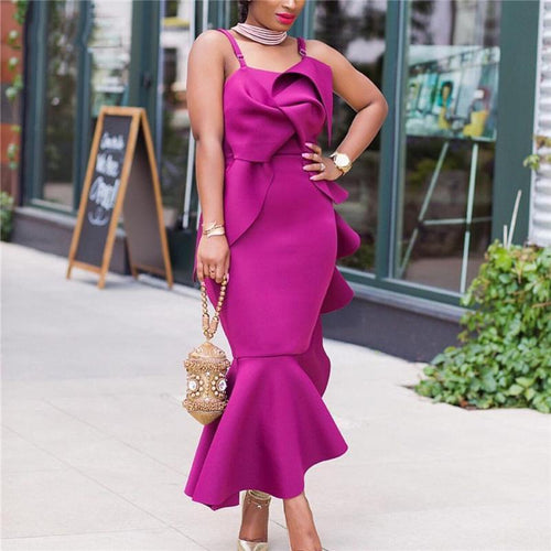 Fashion Ruffled Sling Sexy Party Evening Dress
