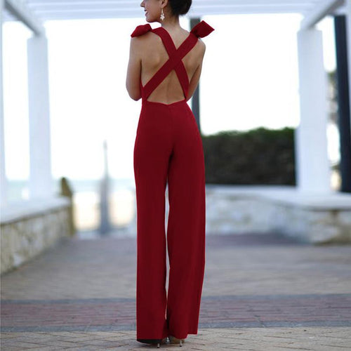 Casual Sexy Slim   Backless Sling Wide Leg  Jumpsuit
