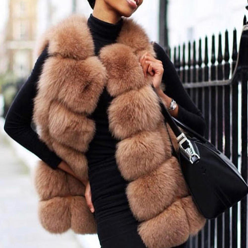 Women's Fashion Faux Fur Sleeveless Coat