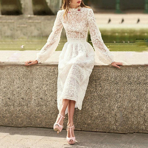 Women's Fashion Bishop Sleeve Stand Collar Lace Dress
