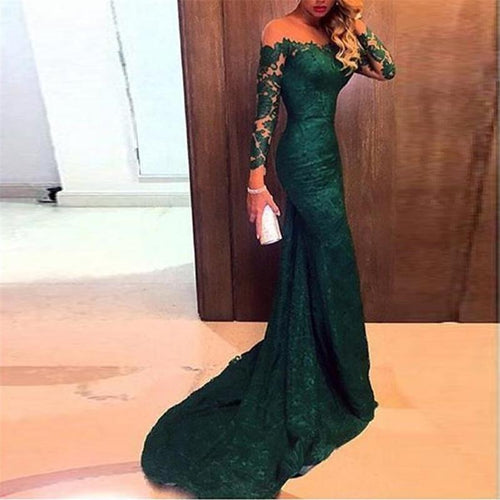 One-Shoulder Lace Long-Sleeved Mopping Evening Dress
