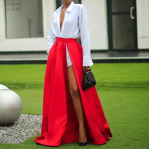 Fashion Sexy V Neck Long Sleeves Shirt Top And Split Skirt