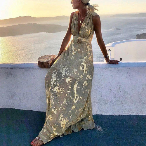 Bohemian V-Neck Sleeveless Print Maxi Dress