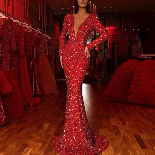Sexy Deep V-Neck Long Sleeve Bodycon Shining Evening Dress