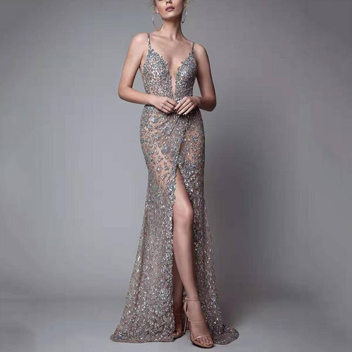 Women's Sexy See-Through Deep V-Neck Bare Back Bead Slit Evening Dress