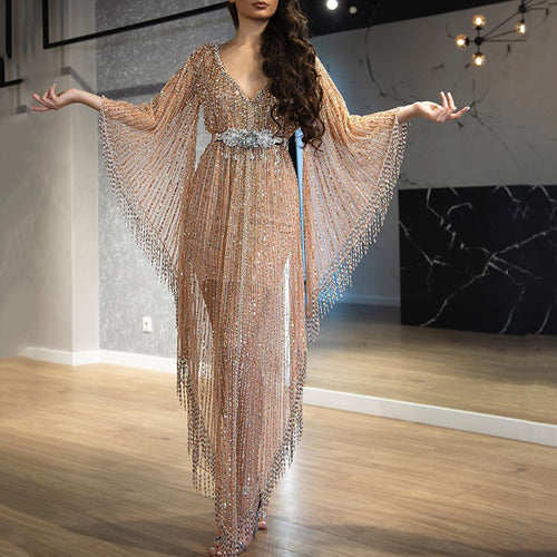 Fashion Sheer Sexy Flare Sleeve Banquet Dress