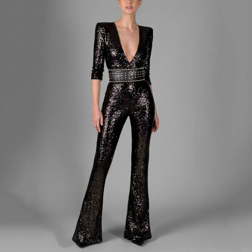 Fashion Deep V Solid Color Sequined Trumpet Jumpsuit