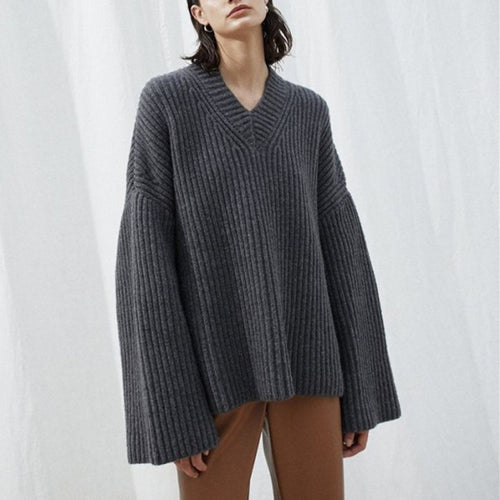 Ladies Stylish Lazy Shoulder Flare Sleeve Design Loose Knit Sweater