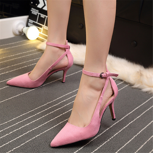Pointed Stiletto Buckle With Suede High Heel Sandals